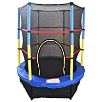 "Greenbay 4.5FT 55"" Kids Trampoline Complete Set with Safety Net and Skirt Child Indoor Outdoor Activity Blue"