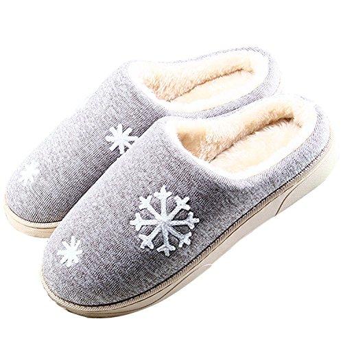 Minetom Unisex Donne Uomo Morbido Caldo Peluche Casa Pantofole Inverno  Autunno Antiscivolo Pattini Fiocco Di Neve Modello Scarpe Slippers (EU  40-41 2566be9b4d7