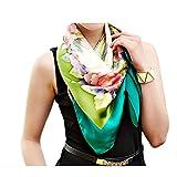 Silk Run – 'La floraison' Foulard carré en 100% soie imprimé (110 cm* 110 cm, taille : XL, couleur : vert)