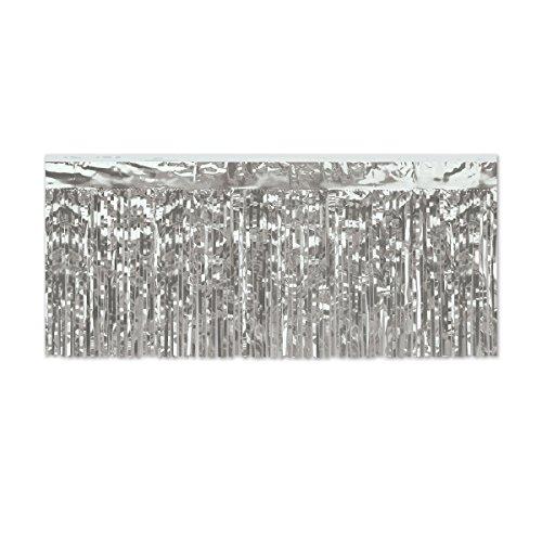 Gardinendekoration, zum Aufhängen, Metallic, 3 m, silberfarben, 6 Stück