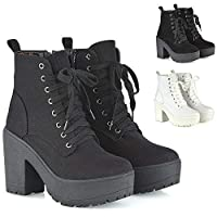 ESSEX GLAM Womens Lace Up Ankle Boots Retro Ladies Chunky Platforms Goth Combat Booties