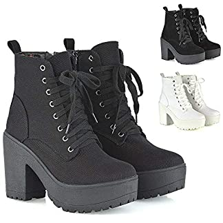 - 51PlM5DDCdL - ESSEX GLAM Womens Lace Up Ankle Boots Retro Ladies Chunky Platforms Goth Combat Booties