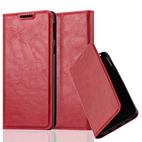 Cadorabo Hülle für Sony Xperia E5 - Hülle in Apfel ROT – Handyhülle mit Magnetverschluss, Standfunktion und Kartenfach - Case Cover Schutzhülle Etui Tasche Book Klapp Style