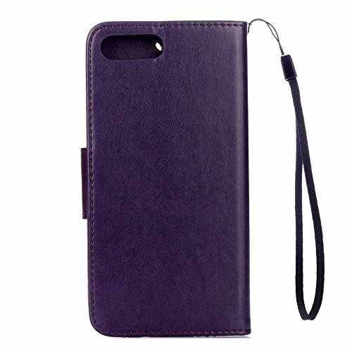 iPhone 8 Plus Custodia,COOSTOREEU Farfalla Fiorisce Pattern PU Custodia in Pelle Custodia Flip Cover per Apple iPhone 8 Plus,Verde Porpora