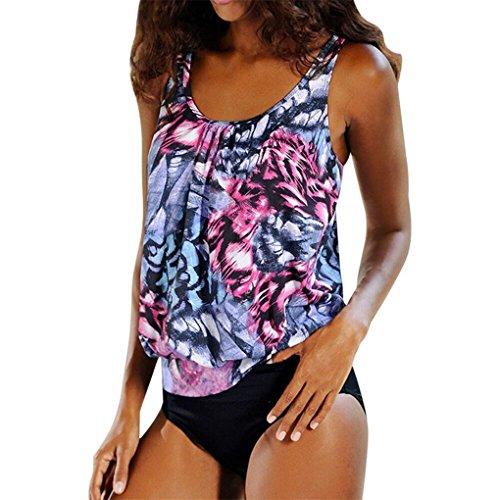 Frauen Sommer Kleidung für Frauen JYJM Sonnencreme Surf Anzug gepolsterte wasserdichte gedruckteGroßer Spleiß-Badeanzug Plus Size Ms. gedruckter Split- Camisolen (XL, Lila)