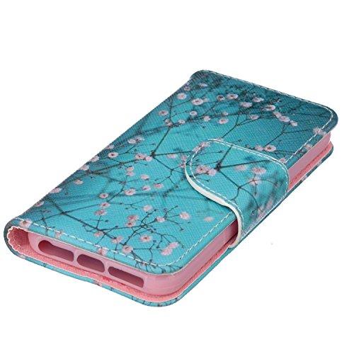 Coque iPhone SE,Coque iPhone 5S,Coque iPhone 5,Coque Etui pour iPhone 5S 5 / SE, ikasus® Coque iPhone 5S 5 / SE Bookstyle Étui Housse en Cuir Case, Papillon fleur peint coloré Motif Etui Housse Cuir P Fleur de prunier bleu