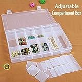 Klarsichtfach aus Kunststoff von Magicdo - Jewellery Storage Box 36 Fächer Slot Organizer, verstellbare Teile Aufbewahrungskoffer, Display Container Box mit abnehmbaren Teilern 36 Grids