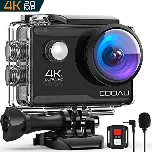 COOAU 4K Action Cam 20MP WiFi Sports Kamera Unterwasserkamera 40m mit Externs Mikrofon Fernbedienung Helmkamera Wasserdicht Digitale Videokamera mit EIS Stabilisierung (4K Wi-Fi) - 20 Digital Kamera