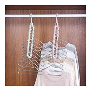 Eitheo Pack of 1 Multifunctional Wardrobe Space Saver Folding Smart Hangers,Smart Hangers Set for Clothes Wardrobe, 360 Degrees Rotatable Hook, Anti-Skid Plastic Magic Clothes Hanger - 360º Swivel Hook - 9-Holes Design Closet Organiser Smart Hanger