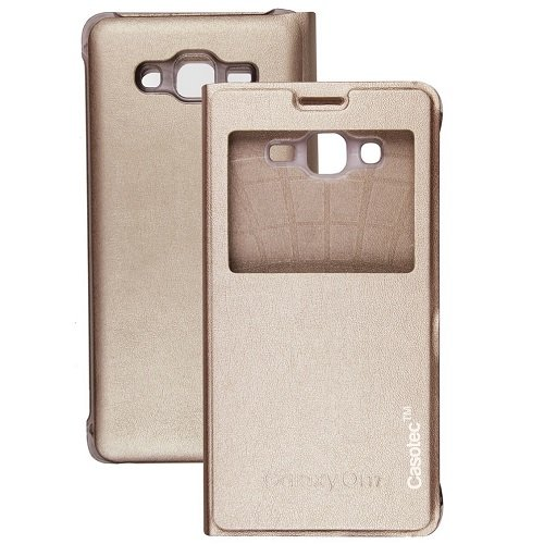 Casotec Premium Caller-id Flip Case Cover for Samsung Galaxy On7 - Gold