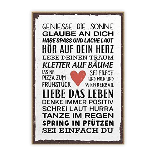 Holzschild mit Spruch – SEI EINFACH DU – im Vintage-Look mit Zitat als Geschenk und Dekoration zum Thema Freiheit und Unabhängigkeit von TypeStoff (19,5 x 28,2 cm)