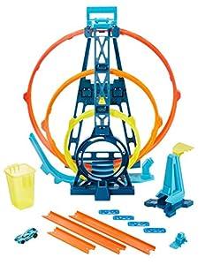 Hot Wheels Track Building Pista Triple Looping, pista de coches de juguete (Mattel GLC96)