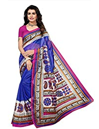 Fabwomen Net Saree with Blouse Piece (Fab1445_Blue_Free Size)