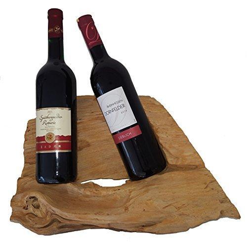 Weinflaschenhalter für 2 Flaschen Teakholz hell braun ca. 30-50x20-30x15 cm natur Holz Teak...