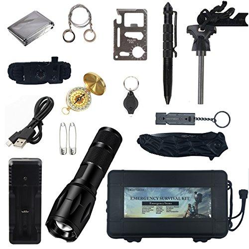 Hichtech Außen Notfall Survival Kit 14 in 1, Selbsthilfe NotÜBerlebens Zubehör Camping Wandern Jagd Fahrzeug Werkzeuge Box Set -