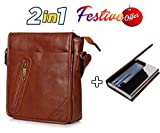 #7: Trajectory 2 in 1 Festive Offer: Premium Handcrafted Unisex Sling Bag in Tan Brown and Premium Leather Metallic Credit Card Holder