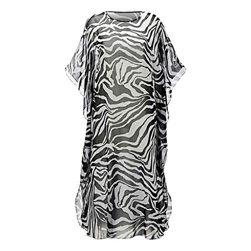 Watermk Womens Chiffon Zebra-Streifen Digitaldruck-Bikini verdecken halbe Ärmel Semi-Sheer Side Split Maxi-Kleid U-Ausschnitt Übergroße lose Pullover Tops - Split Side Maxi