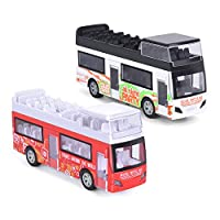 """Think Wing Double Decker Bus Toy Set, 2 Pack 5"""" Die Cast London Sightseeing Tour Bus Play Vehicles with Pull Back Action for Toddlers"""