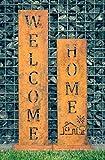 SteelTastic 'Welcome + Home-Oxidado Soporte 2Unidades ★ Oxidado (Perfecto para el Jardín, hogar Entrada o terraza ★ Premium Calidad Fabricado en Alemania