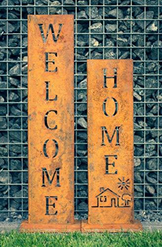 WELCOME + HOME - Edelrost Ständer von SteelTastic ★ 2 er Set ★ Perfekte Rost Deko für den Garten, Hauseingang oder Terrasse ★ Premium Qualität ''Made in Germany''