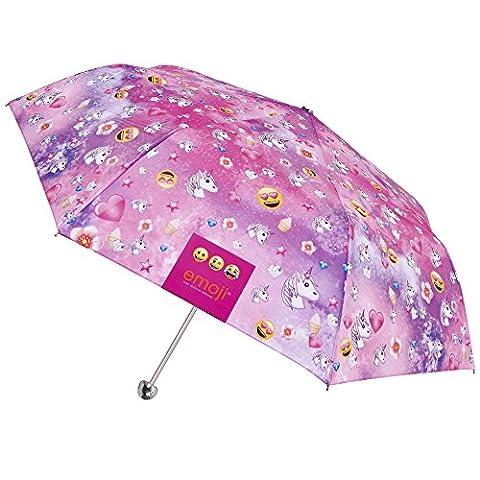 Emoji Einhorn Schirm - Schirm mit den offiziellen Emojis von WhatsApp - Mädchenschirm mit Einhorn- und Smiley Motiven – Perletti -