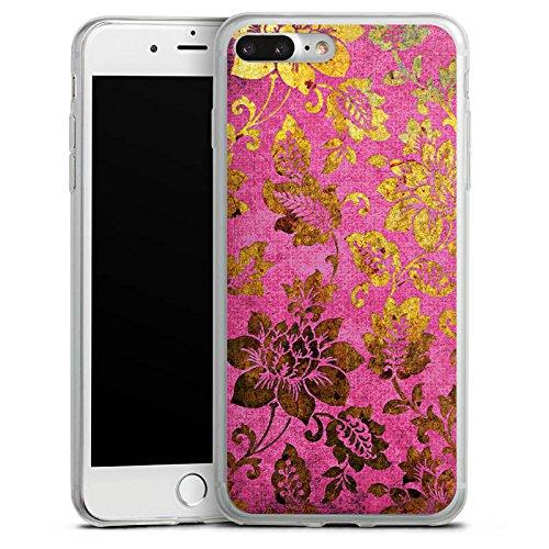 Apple iPhone 8 Plus Slim Case Silikon Hülle Schutzhülle Retro Bunt Blumen Silikon Slim Case transparent