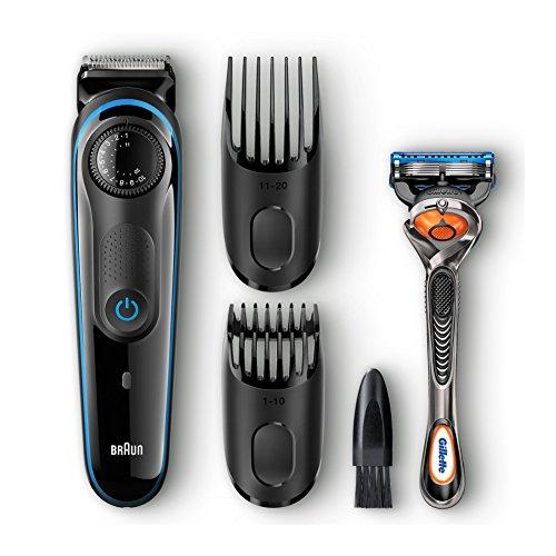 Braun Bartschneider BT3040, Haar-Und Bartschneider Für Herren Mit Gillette Fusion ProGlide Rasierer, schwarz/blau
