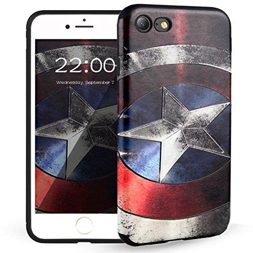 "iPhone 7 Hülle, HICASER 3D Creative Muster Flexible TPU Anti-rutsch Handytasche Schutzhülle für Apple iPhone 7 4.7"" -Hauptmann Amerika"