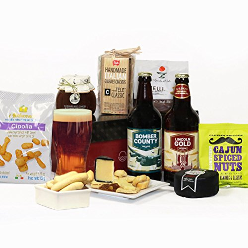 Cheese, Craft Beer & Nibbles Hamper - 8 Items in Luxury Gift Box - FREE UK delivery