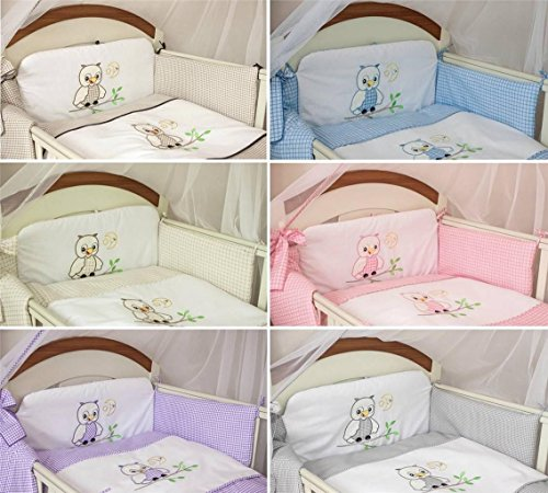 3 Piece Nursery Bedding Set with Bumper To Fit Cot Bed & Cot - Owls (Cot 120 x 60cm, Pink)