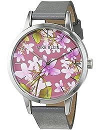 Mike Ellis New York Damen-Armbanduhr La Fleur Analog Quarz Leder SL4310B8