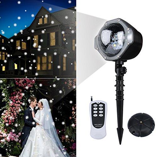 ojektor, Lovebay Schneefall Projector Weihnachten,Weihnachtsbeleuchtung Projektor Aussen&Innen, Wasserdich IP65, mit praktischem Erdspieß und Fernbedienung weihnachts projektor (Weihnachten Schneeflocke)