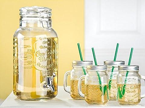 Bowle Set 5-tlg. Glas Getränkespender + Gläser Party
