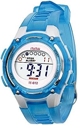 Digital Reloj de pulsera - iTaiTek Ninos Ninas natacion deportes digital impermeable reloj de pulsera (azul)