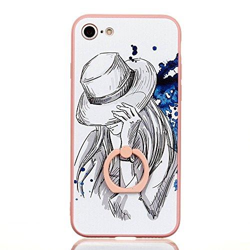 Voguecase Für Apple iPhone 7 Plus 5.5 hülle, Schutzhülle / Case / Cover / Hülle / TPU Gel Skin mit Ring Schnalle (Pink-Fashion Girl 05) + Gratis Universal Eingabestift Pink-Zeichnungen-Mädchen 01