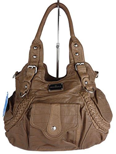 MILANA Handtasche AKW22031, große Alltagstasche mit vielen Fächern und Schultertrageriemen, viele Farben, 40x25x17cm braun erde