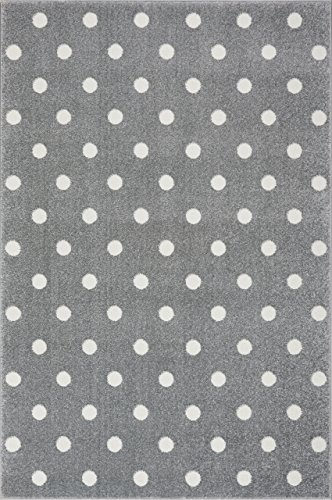 Livone Kinderzimmer Baby Kinderteppich Punkte Kreise in Silber grau Weiss Größe 120 x 170 cm