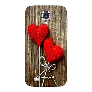 HomeSoGood Lovely Woolen Hearts Brown 3D Mobile Case For Samsung S4 ( Back Cover)