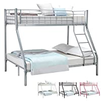 "UEnjoy Metal Frame Bunk Beds Triple Sleeper Bed for Adult and Children Kids(Silver 75.2""*52""*65.4"")"