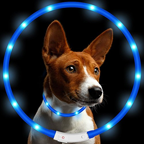 Pack-of-1-PCS-LED-Dog-Collar-KEKU-USB-Rechargeable-glowing-pet-dog-collar-for-night-safety-fashion-light-up-tube-flashing-tube-collar-for-small-medium-large-dogs-Blue-