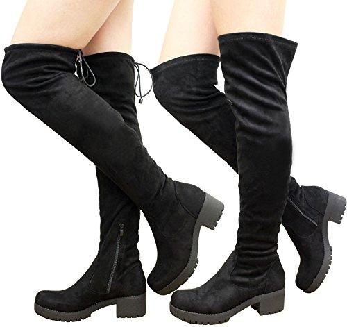 Up Cuissardes Saute Bottes Femme Styles Tie Lace Black Suede Z5x6qqw wvTqFq