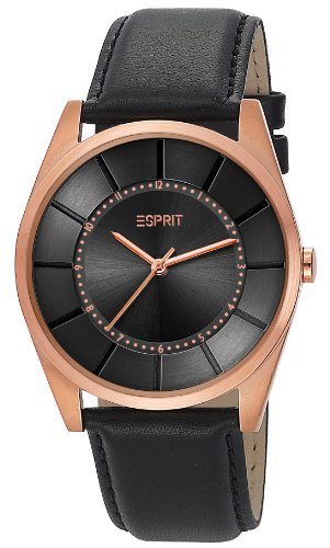 Esprit Gents Watch XL Slim'S Men Rose Gold Dial Analogue Display and Gold Leather ES104201004