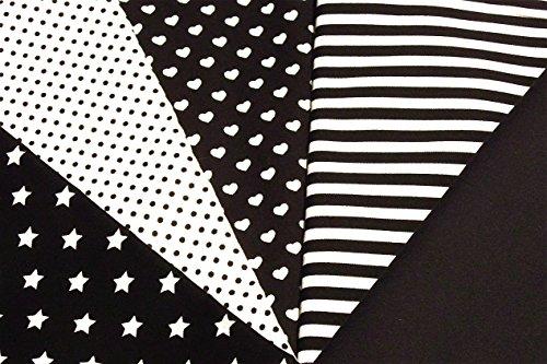 Muster 100% Baumwolle (5x0,5m schwarz Muster-Mix BW-Stoff 100% Baumwolle Stoffbreite 1,4m (insgesamt 2,5m x 1,4m))
