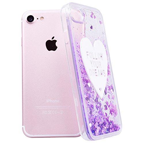 WE LOVE CASE iPhone 7 Coque, Étui Transparente de Protection en Premium Hard Plastique Dur Housse Liquide et Clair, Bumper Bling Cas Briller Couverture avec Paillette Ecoulement Flottant Motif Brillia violet