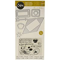Sizzix Framelits Die Set with Stamps Carte Postale by Brenda Walton (8 Pack) by Sizzix