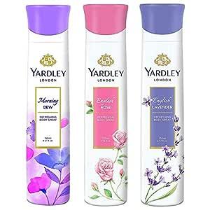 Yardley London Deo Tripack - English Lavender + English Rose + Morning Dew 150ml (Pack of 3)