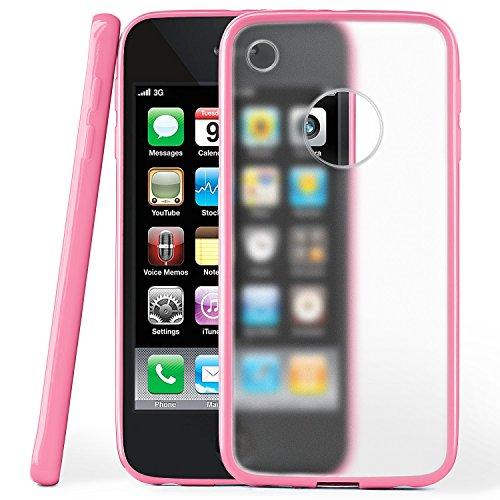iPhone 3GS Hülle Slim Transparent Rosa [OneFlow Impact Back-Cover] Dünn Schutzhülle Silikon Handy-Hülle für iPhone 3G/3 GS Case TPU Tasche Matt