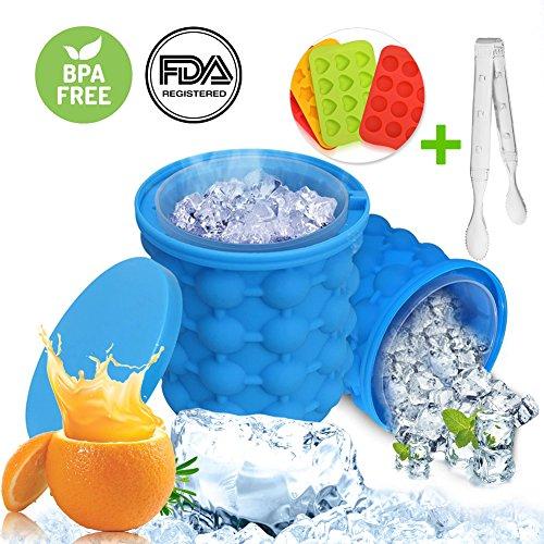 Ice Genie Cube Maker,DryMartine Silikon Eiskübel die revolutionäre platzsparende tragbare große Eiswürfeleimer mit Deckel,EiswüRfelbehäLter BPA-Frei(Geschenk-Clip)
