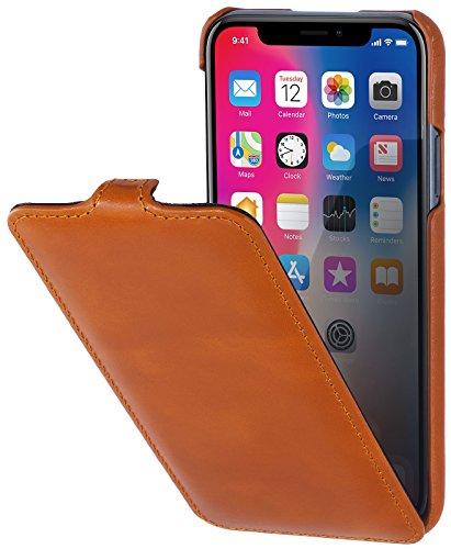 StilGut Leder-Hülle kompatibel mit iPhone XS/iPhone X UltraSlim Flipcase, Cognac