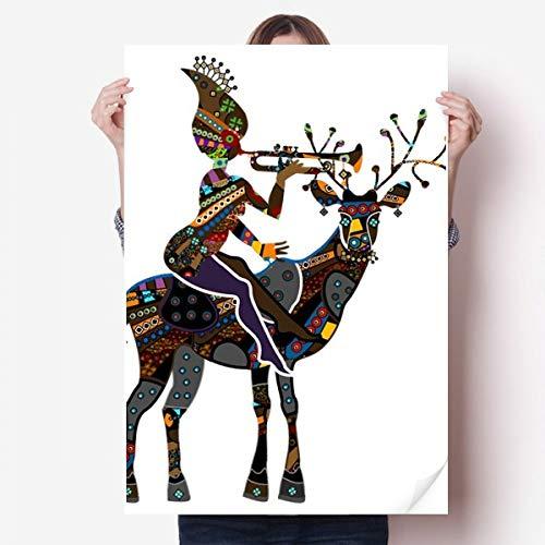 DIYthinker African Aboriginal Schwarze Frauen Deer Trompete Vinylwand-Aufkleber-Plakat-Wand Tapete Raum Aufkleber 80X55Cm 80cm x 55cm Mehrfarbig